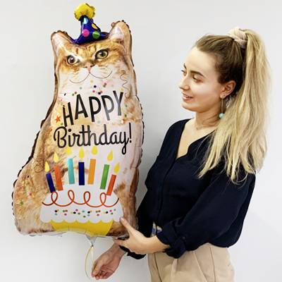 "Шар фольга ""Кот Happy Birthday"""