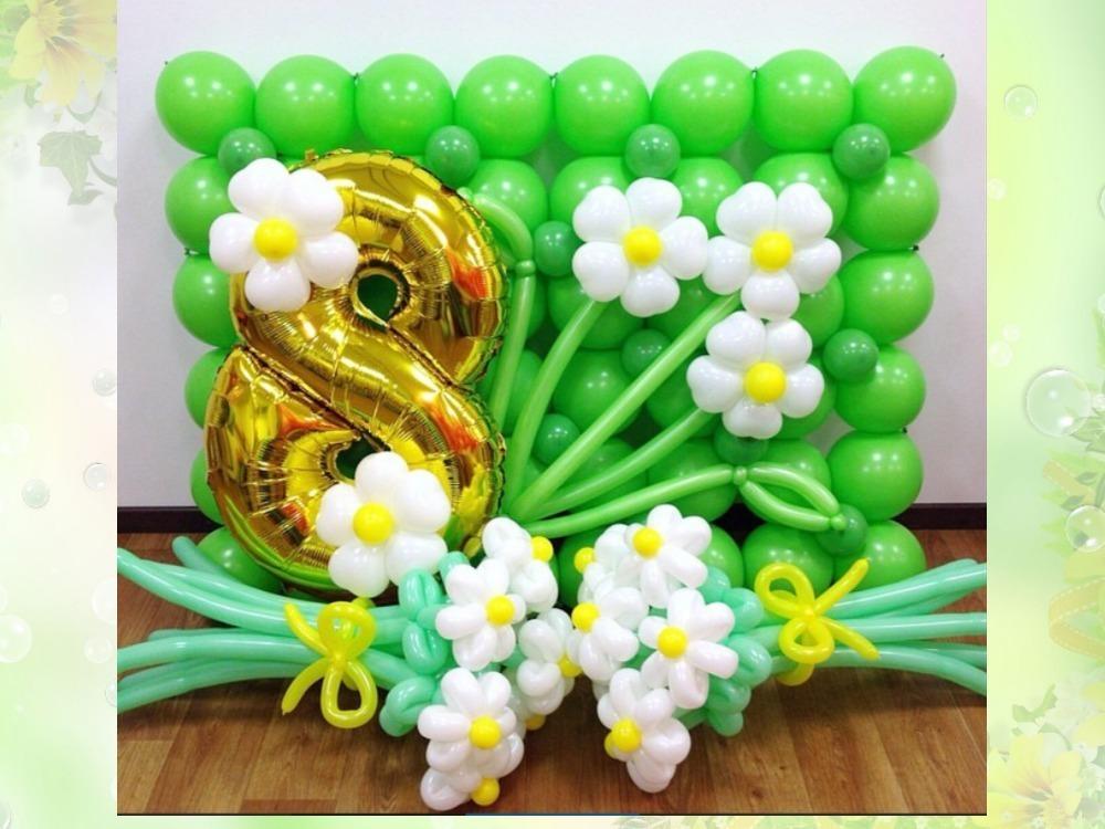 3 варианта оформления помещения воздушными шарами на 8 марта