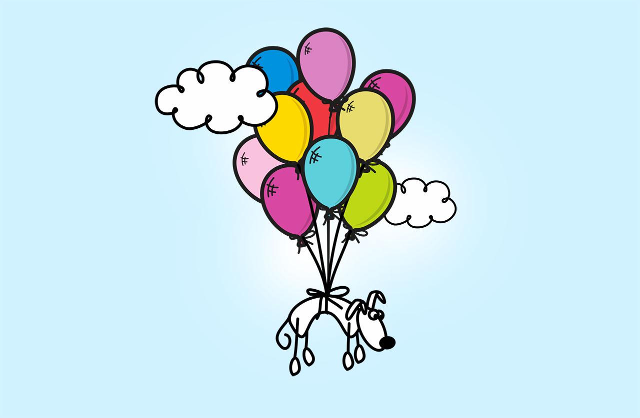 Сколько воздушных шаров необходимо, чтобы отправить в полет кошку или собаку?